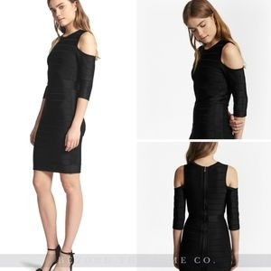French Connection KNIT BODYCON COLD SHOULDER BLK